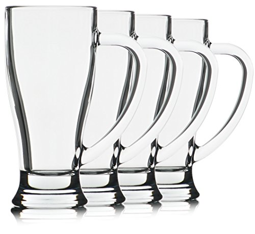 Excellent Handle - Serami 14oz Tall Cafe Clear Glass Cups w/Large Handles and Excellent Glass Construction. Made in the USA, Set of 4