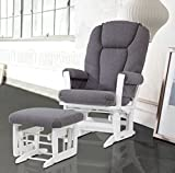 Dutailier Modern Glider with Multiposition, Recline and Nursing Ottoman Combo, White/Dark Grey