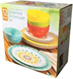 Laurie Gates - 12 Piece Melamine Dinnerware Set (Yellow & Orange & Green & Blue)