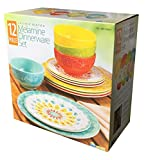Cheap Laurie Gates – 12 Piece Melamine Dinnerware Set (Yellow & Orange & Green & Blue)