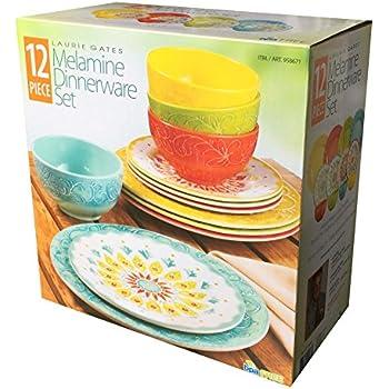 Amazon Com Laurie Gates 12 Piece Melamine Dinnerware