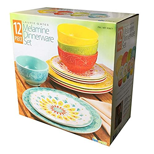Laurie Gates - 12 Piece Melamine Dinnerware Set (Yellow u0026 Orange u0026 Green u0026 Blue)  sc 1 st  Amazon.com & Mix and Match Dinnerware: Amazon.com
