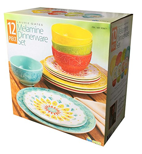 Laurie Gates - 12 Piece Melamine Dinnerware Set (Yellow & Orange & Green & Blue)