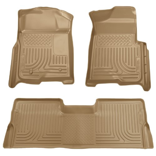 Husky Liners Front & 2nd Seat Floor Liners Fits 09-14 F150 (Tan 2nd Seat)