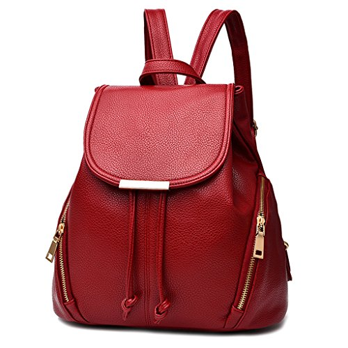 Soft Buckle Leather Pu Red Purse Girls Zipper And With Backpacks 2 For Pockets Outside Slylive Wine Backpack women Magnet 1qPw1I