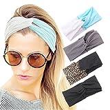 4 Pack Women Headband Pure Color Style Criss Cross Head Wrap Hair Band Set3