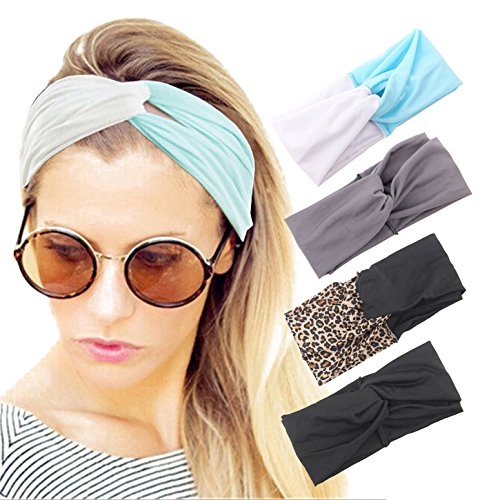 4 Pack Women Headband Pure Color Style Criss Cross Head Wrap Hair Band Set3