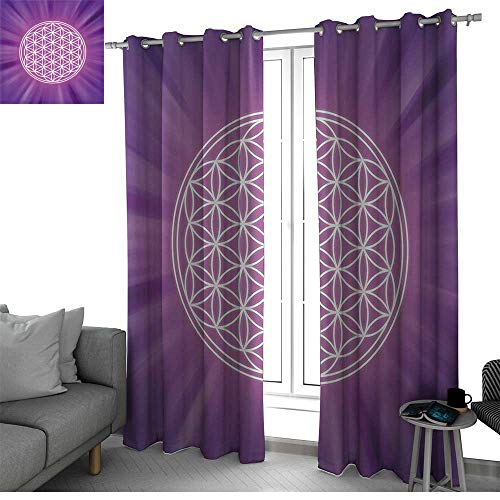 Sacred Geometry Room Divider Curtain Screen Partitions Abstract Overlapping Circles on Spiritual Vibrant Background Print Window Curtain 2 Panel Fuchsia Purple W120 x L108 -