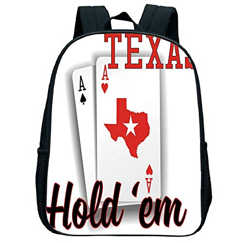 Pictures Print Design Trumpet Black knapsack,Poker Tournament Decorations,Texas Holdem Theme Pair ACES Map Winning Hand Decorative,Red Black White Children,Personalized Design.11.8