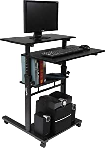 VINGLI Black Mobile Standing Up Desk Dimension Scale Marked on Steel Frame, Adjustable Wooden Laptop Desktop with Locking Wheels, Rolling Presentation Cart