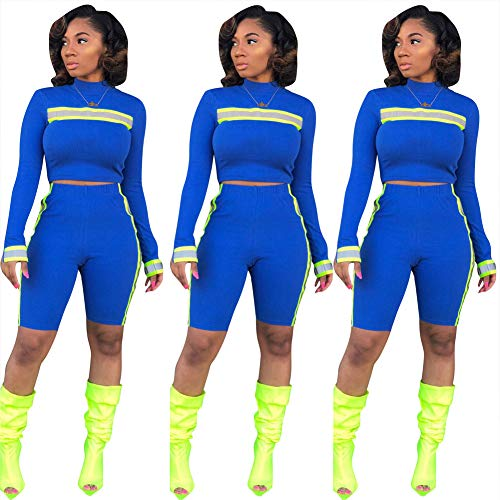 ec73b8862dd Ekaliy Women Sexy Plus Size Two Piece Outfits Reflective Blue Sweatsuits Long  Sleeve Tops Pant Sets