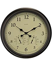 24-inch Weathered Wall Clock with Thermometer and Hygrometer