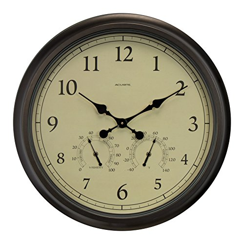 Atomic Outdoor Wall Clock - AcuRite 24-inch Weathered Wall Clock with Thermometer and Hygrometer