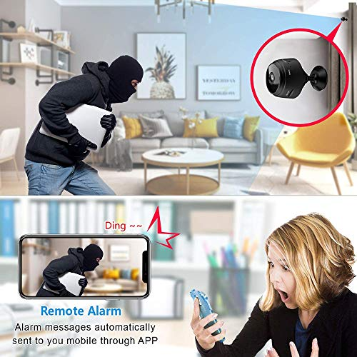 Mini Camera WiFi Wireless Video Camera 1080P HD Small Home Security Surveillance Cameras with 32G SD Card,Portable Tiny Nanny Cam with Night Vision Motion Detection for Car Indoor Outdoo - Black
