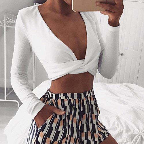 Manches N Blouse ud V Femmes Sixcup Nuque Chemisier Tops Blanc Wrap Shirt Avant Profonde Crop Chemise T Longues Courtes Tube Sexy Shirt 06qqSP