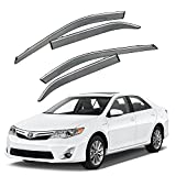 toyota camry rain - VXMOTOR For 2012-2017 Toyota Camry - Chrome Trim Smoke Tinted PC Window Visor Rain Guard Deflector Polycarbonate PC