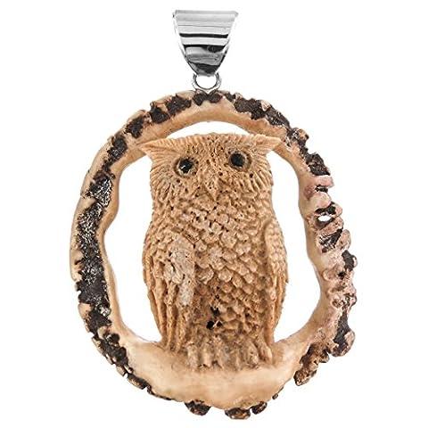 Owl 3D Handcarved Deer Antler Burr 925 Sterling Silver Pendant, 2 3/4