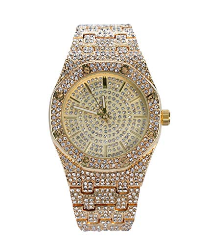 Bling-ed Out Men's 40mm Dial CZ Gold Watch with Tapered Band | Japan Movement | Simulated Lab Diamonds ()