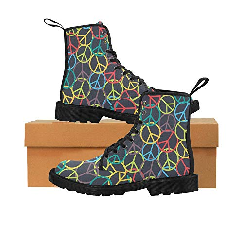 (Colorful Peace Sign Unique Martin Boots Lace Up Canvas Combat for Women Girl)