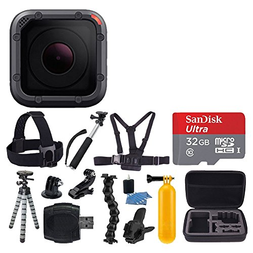 GoPro HERO5 Session 10MP – Waterproof to 33', Wi-Fi & Bluetooth + SanDisk 32GB Memory Card + Head & Chest Strap + Flexible Tripod + Extendable Monopod + Medium Case + Card Reader + Floating Handle by PHOTO4LESS