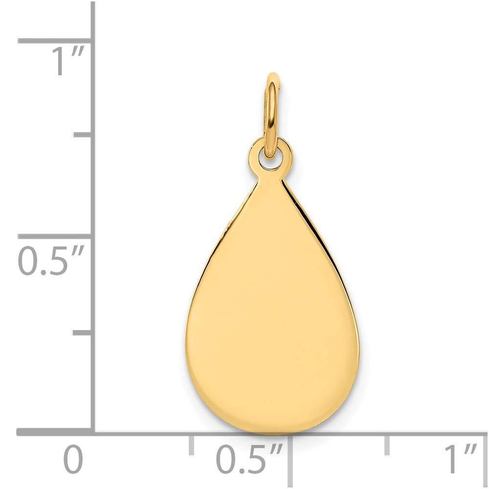 14K Solid Yellow Gold Plain .009 Gauge Engravable Raindrop Disc Charm 23mm x 11mm