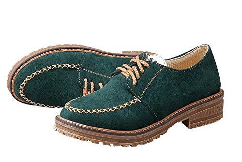 VogueZone009 Femme Dépolissement Lacet Rond à Talon Bas Chaussures Légeres Vert Foncé KsWHoI1Ehd