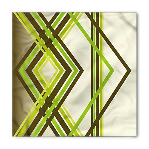 Abstract Bandana by Ambesonne, Geometric Trippy Diamond Shape Bands in Different Shade Illustration, Printed Unisex Bandana Head and Neck Tie Scarf Headband, 22 X 22 Inches, Army Fern and Lime - Trippy Shades