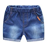 MiyaSudy Little Boy Girl Denim Shorts Letter Printed Summer Elastic Waist Jeans Pants