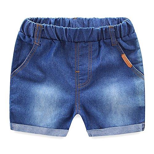 MiyaSudy Little Boy Girl Denim Shorts Letter Printed Summer Elastic Waist Jeans Pants by MiyaSudy