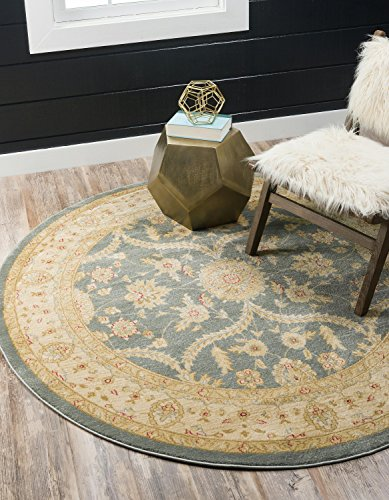 Round Brown Rug Oriental (Unique Loom Edinburgh Collection Oriental Traditional French Country Blue Round Rug (6' x 6'))