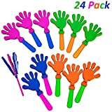 Plastic Hand Clappers - 24 Pack Assorted Colors - Party Favors - Toy For Kids, Easter Hunt, Cinco de mayo - Noise Makers - By Katzco