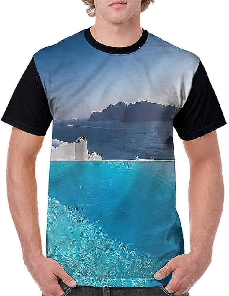 Loose T Shirt,Resort Pool in Santorini Fashion Personality Customization