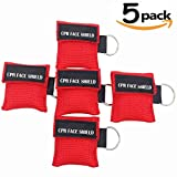 CPR Kit, 5 Pack CPR Mask (Red)