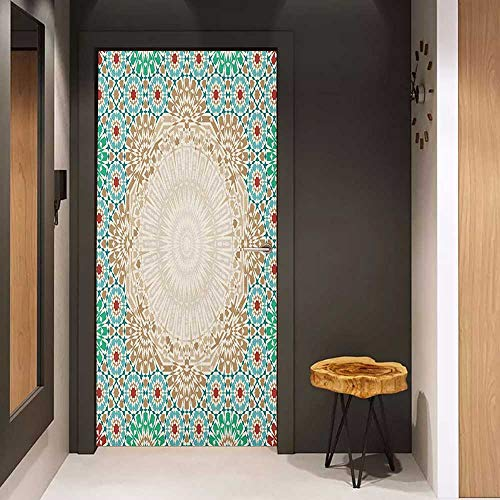 Automatic Door Sticker Moroccan Ottoman Mosaic Art Pattern with Oriental Floral Forms Antique Scroll Ceramic Boho Print Easy-to-Clean, Durable W23.6 x H78.7 Multi