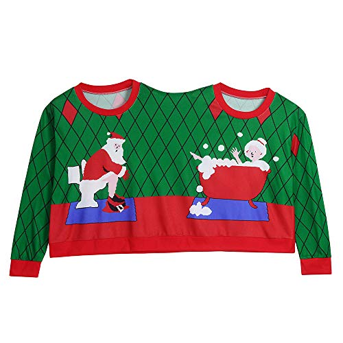 COOKI Two Person Ugly Christmas Sweater Xmas Couples Pullover Novelty Sweaters Sweatshirts Tops Shirt Blouses (For Christmas Jumpers Novelty Sale)