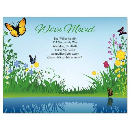 Floral We've Moved New Address Postcards - Set of 24 5-1/4