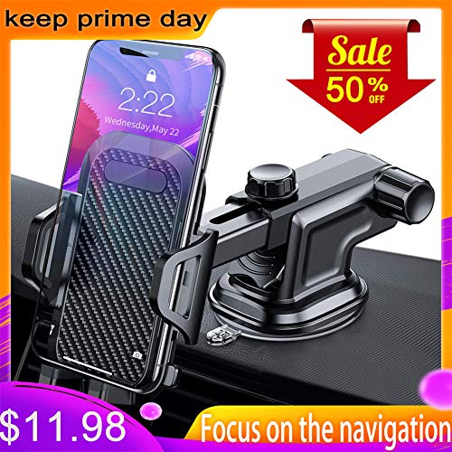 AIKESI Car Phone Mount, Dashboard & Windshield Cell Phone Holder for Car, Strong Stick Suck, One-Touch Design, Car GPS Cradle Compatible 3.5