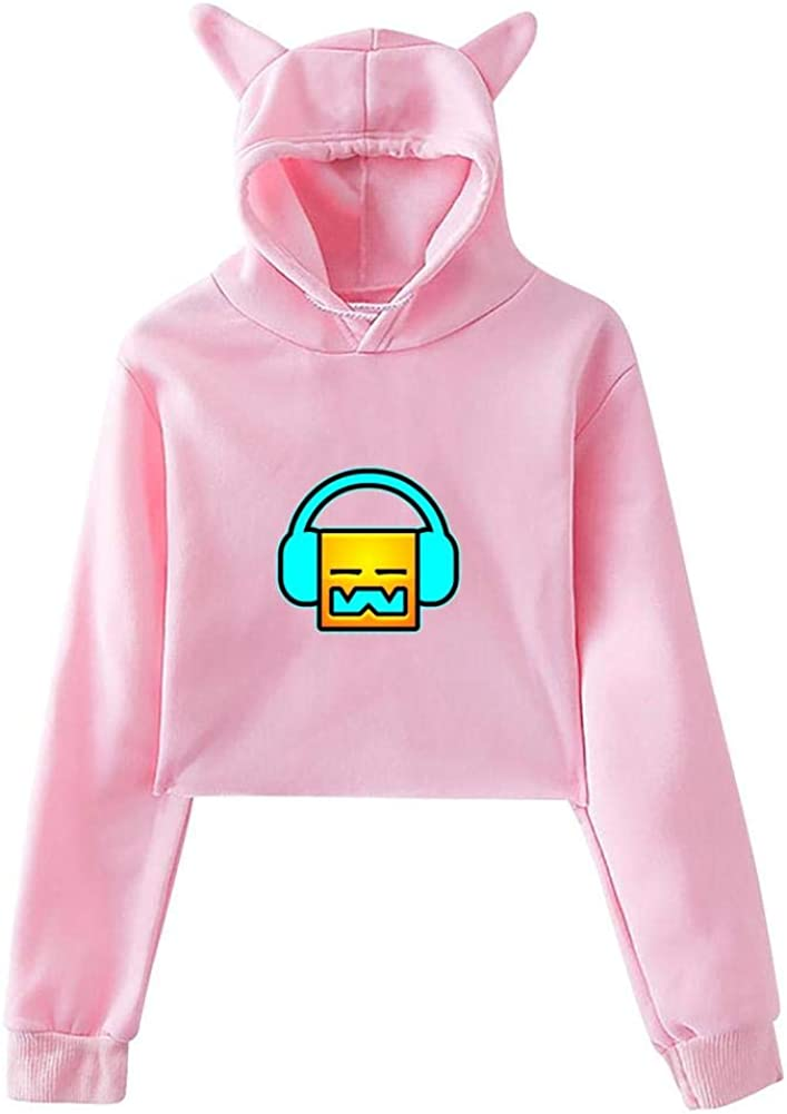 3D Print Womens Cute Cat Ear Crop Top Hoodie Geometry-Dash Play The Music Crop Top Sweatshirt