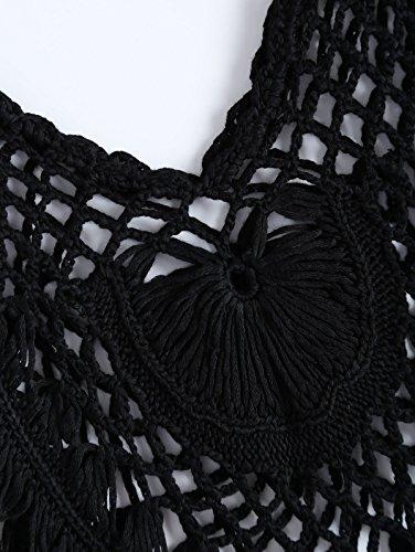 Paplan Damen Handmade Knit Tassel Hosenträger Weste Bikini Badeanzug Schwarz sl34vIb