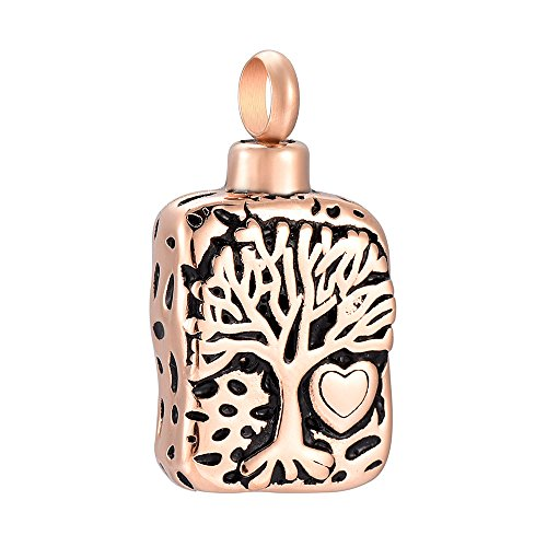 Etched Tree &Heart Cremation Urn Pendant Necklace for Ashes Cremation Urn Jewelry (Rose (Etched Locket Pendant)