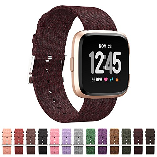 GeekSpark Compatible for Fitbit Versa Bands, Woven Fabric Quick Replacement Accessories Wristbands with Classic Square Stainless Steel Clasp for Fitbit Versa Smartwatch