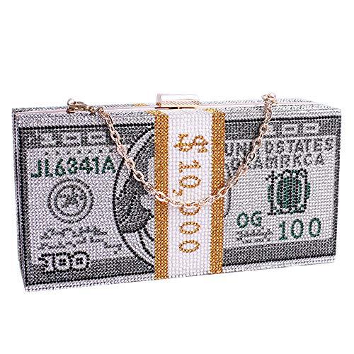 Dollars Crystal Clutch Purses for Women Evening Bags Sparkling Evening Handbags Hundred Dollar Bill Box Shine Crystal…
