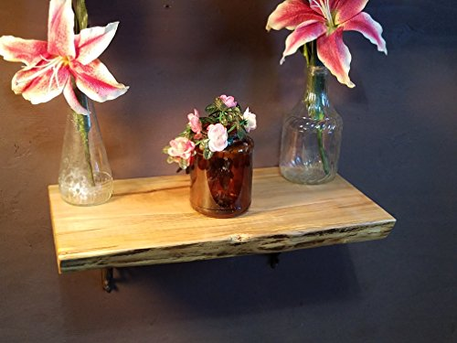 Ambrosia Maple Solid Wood Shelf with Wrought Iron Brackets 21