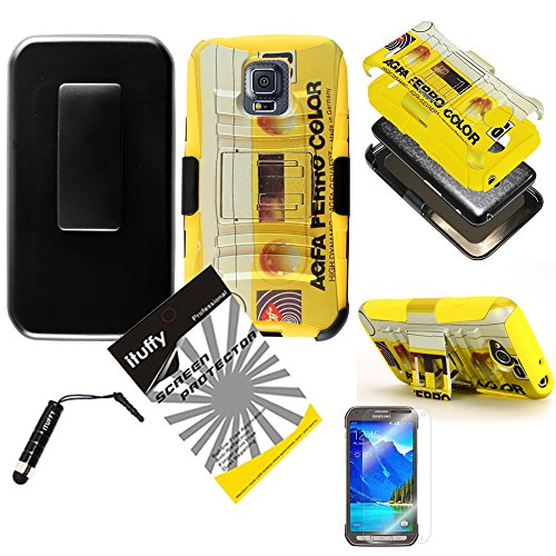 3 items Combo: ITUFFY(TM) LCD Screen Protector Film + Stylus Pen + Case Opener + 2 tone Design Heavy Duty Armor Tuff Impact Case w/ belt clip and viewing stand for Samsung Galaxy S5 Active SM-G870A G870 (HStand / Cassette - Yellow) (Cassette Case Galaxy S5)