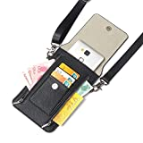 Samsung Galaxy S9 Plus Leather Wallet Case Galaxy Note 8 Case iPhone X Purse Case Cell Phone Crossbody Gril Bags Waist Bag Small Messenger Pouch Bags with Card Holder Slot and Zipper Slots (Black)