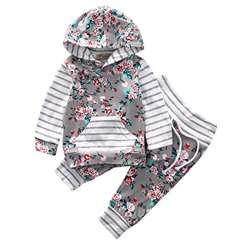 Baby Girl 2pcs Set Outfit Flower Print Hoodies with Pocket Top+Striped Long Pants (6-12M, Grey) Baby Clothing