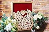 Teisyouhu Red Custom Guest Book Sign In Wood Drop Top Guest Book Wedding Alternative Frame for Wedding Party Decorations 12 x 14 inch with 120 Hearts