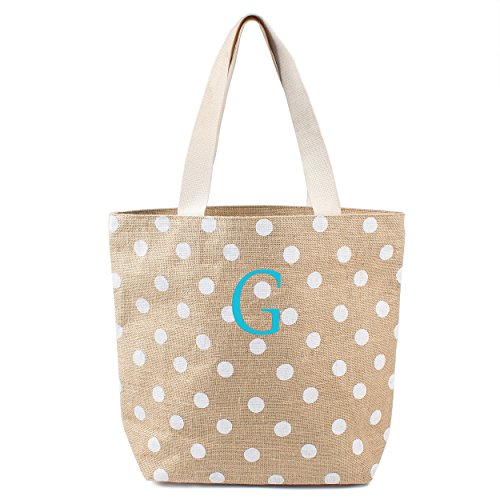[Cathy's Concepts Polka Dot Jute Tote Bag, Monogram G, White] (Bridal Embroidered Tote)