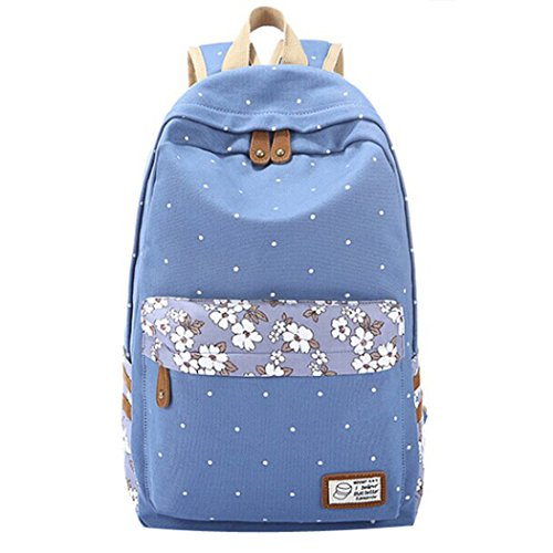 Tinksky New Top Trendy Cute Korean Lace Backpack College Style Leisure Canvas Backpack Gilr's Lovely Bow Rucksack Vintage Floral Print School Bag Retro Sweet Fashionable Outdoor Backpack for Teens Students Women Ladies Girls Light Blue