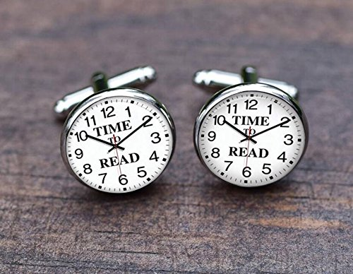 Reading Cuff links, Time to read, Antique Clock, glass Watch cufflinks, Clock Steampunk, Gifts for boyfriend, son, - Nerd To Style How Glasses
